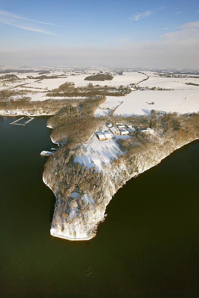 Aerial view, Lake Moehnesee, dam, lake, snow, Soest, North Rhine-Westphalia, Germany, Europe