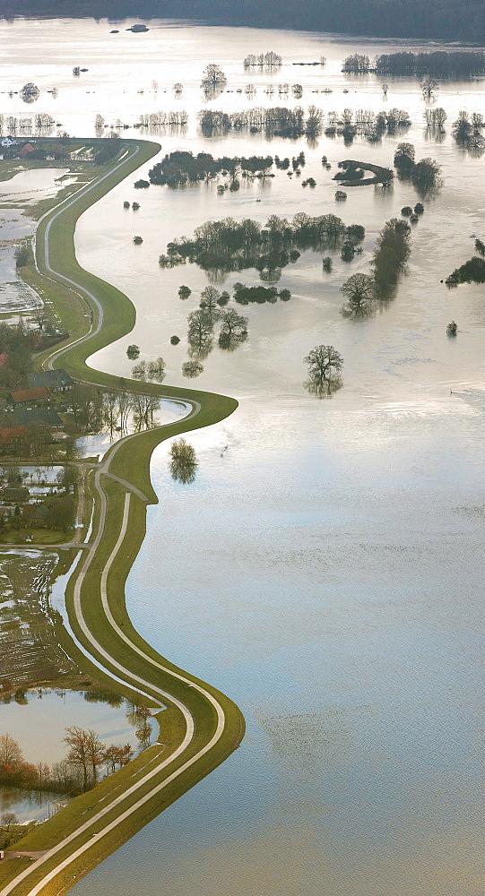 Aerial view, Amt Neuhaus, Hitzacker, Elbe River, dam, dyke, Elbe Valley Nature Park, winter floods, Mecklenburg-Western Pomerania, Germany, Europe