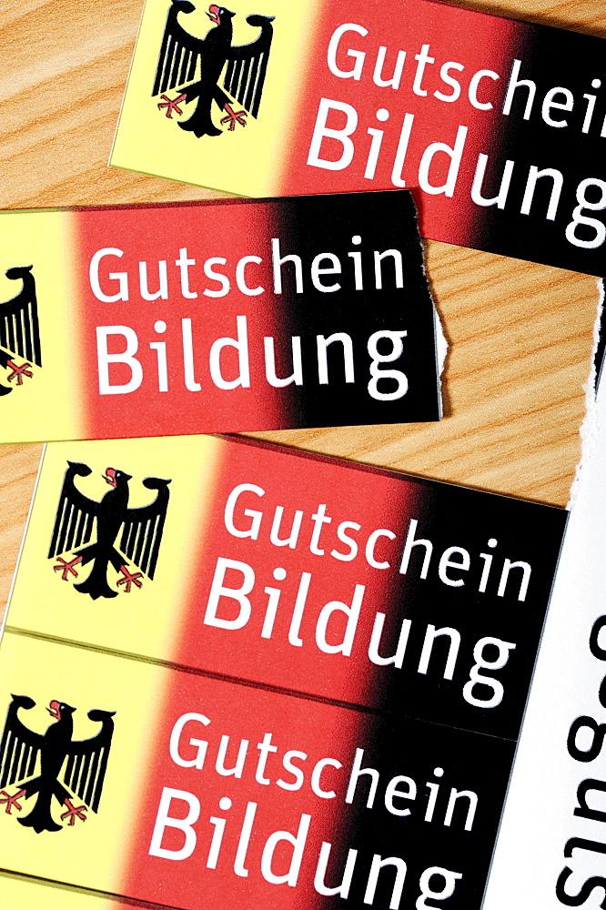 """Vouchers, Bildungsgutschein coupons, lettering """"Gutschein Bildung"""", German for """"education voucher"""", symbolic image"""