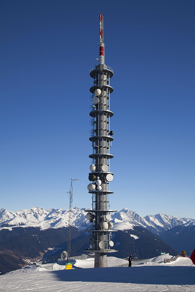 Radio mast, transmitter mast, Kronplatz winter sport region, Kronplatz mountain, 2272 m, Bruneck, Puster Valley, Province of Bolzano-Bozen, Italy, Europe