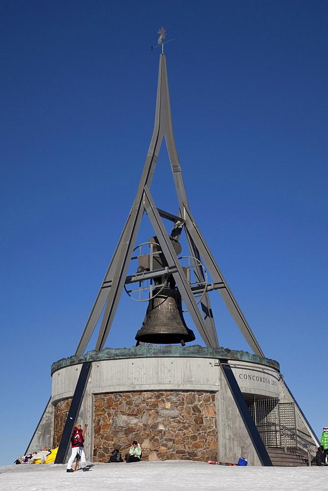 Concordia 2000 bell on the mountaintop plateau on Kronplatz mountain, 2272 m, Kronplatz winter sport region, Bruneck, Puster Valley, Province of Bolzano-Bozen, Italy, Europe