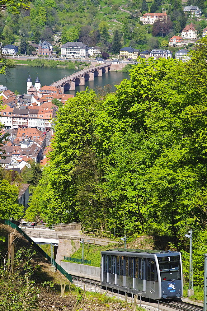 Modern funicular railway, Heidelberg, Baden-Wuerttemberg, Germany, Europe