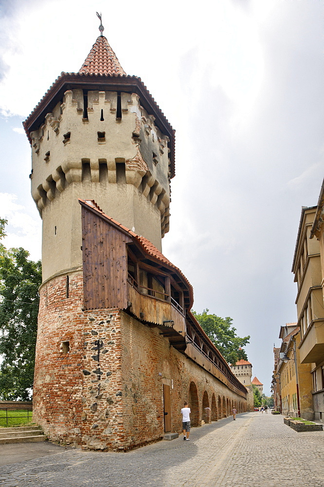 Defensive wall and tower of the craft guilds in Strada Cetatii, Sibiu, Romania, Europe - 832-109570