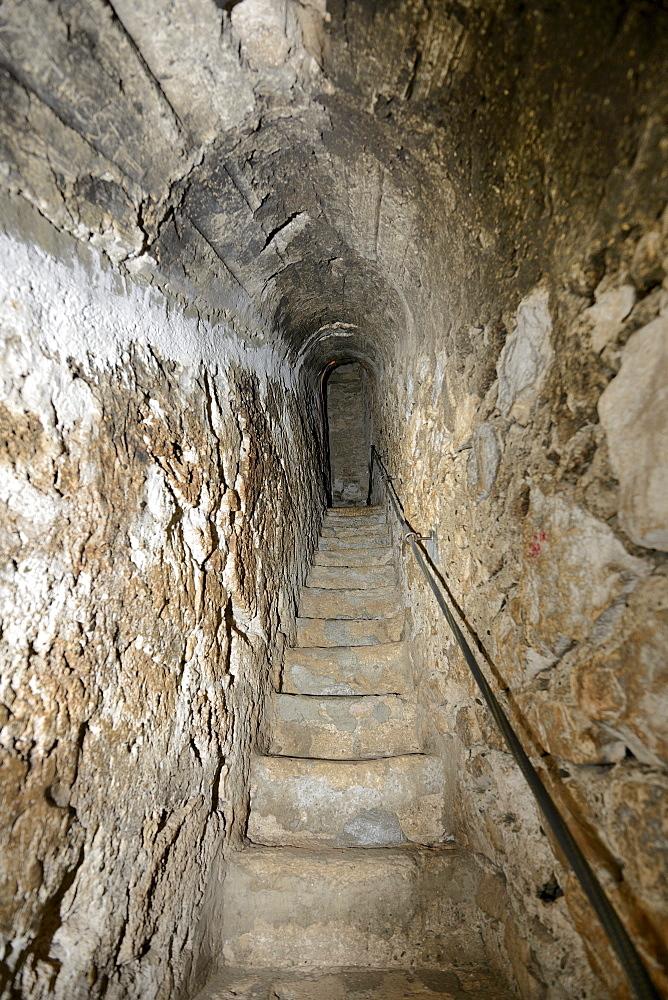 Narrow stairway inside the wall, Bran Castle, Toerzburg, Romania, Europe