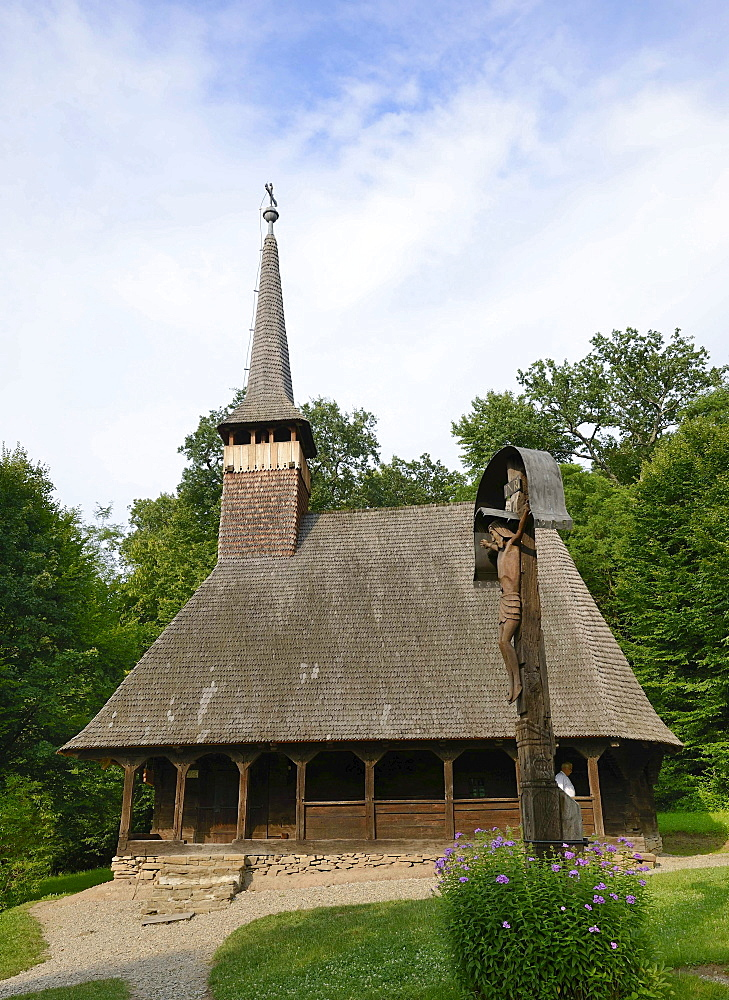 Wooden church of Bezded in Salaj County, Astra open-air museum, Sibiu, Romania, Europe