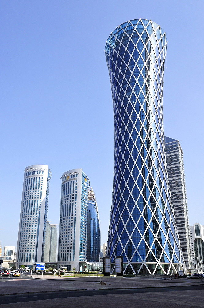 Tornado Tower, Majlis Al Taawon Street, Doha, Qatar, Arabian Peninsula, Persian Gulf, Middle East, Asia