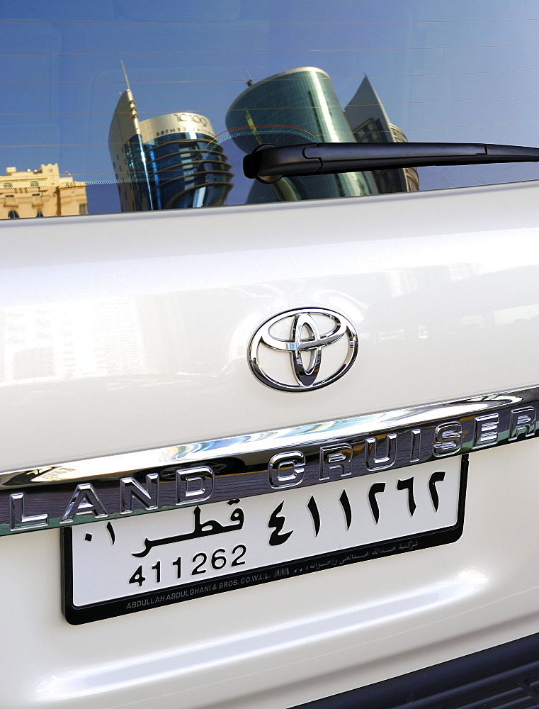 License plate from Doha on a Toyota Land Cruiser, Qatar, Arabian Peninsula, Persian Gulf, Middle East, Asia