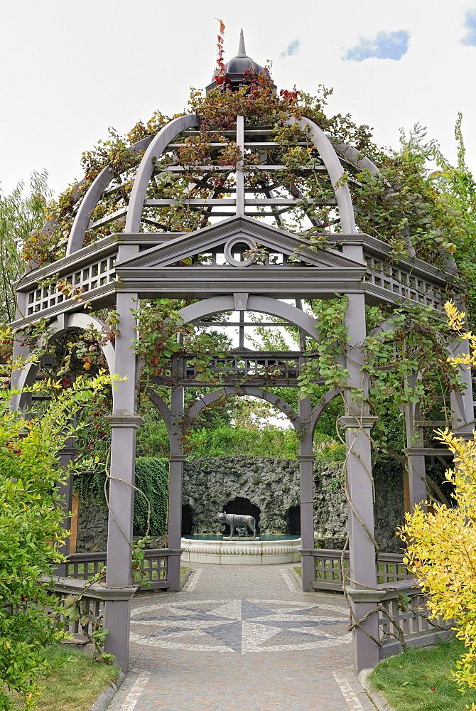 Gazebo, steel structure, Italian Renaissance Garden, Hamilton Gardens, Hamilton, North Island, New Zealand
