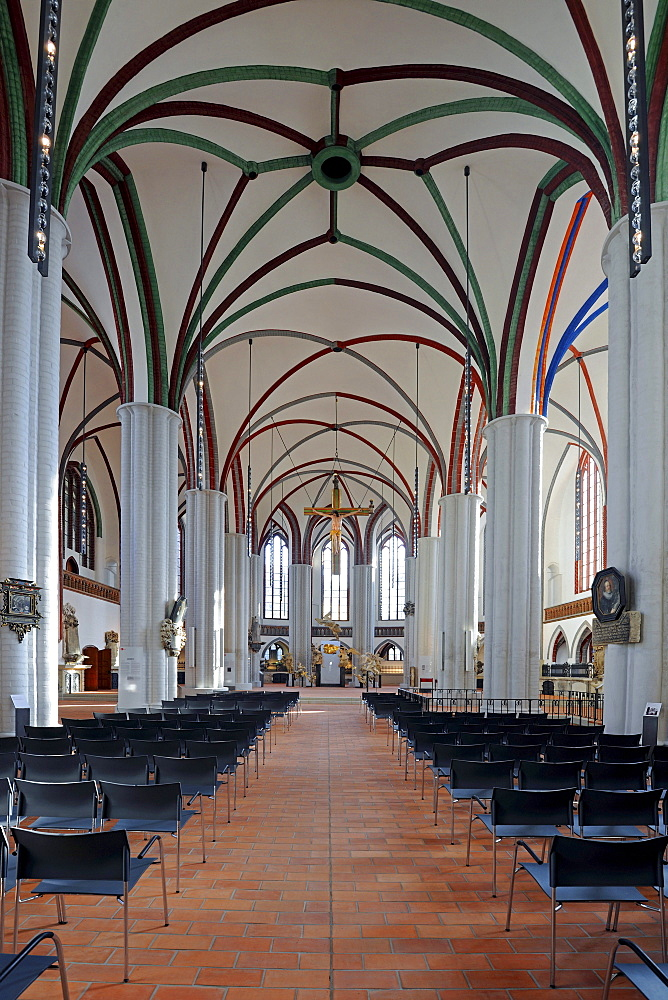 Nave of the newly renovated Nikolaikirche church, Berlin, Germany, Europe