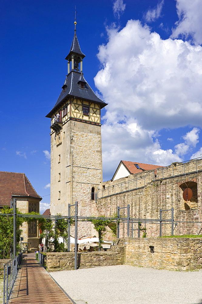 Burgplatz square with Oberer Torturm tower, Marbach am Neckar, Neckar valley, Baden-Wuerttemberg, Germany, Europe