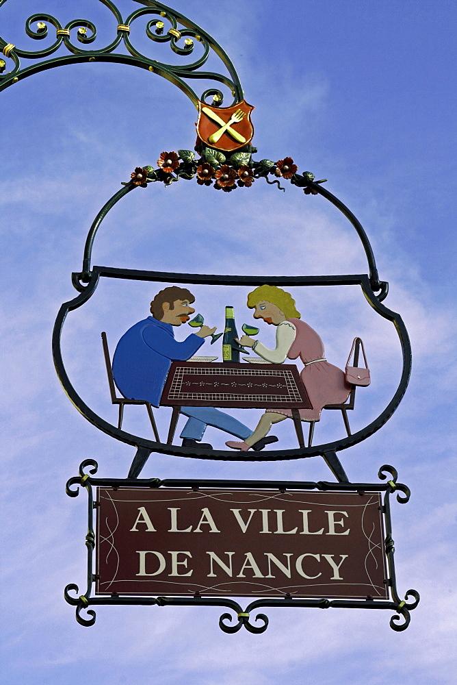 Restaurant hanging-sign, Eguisheim, Alsace Wine Route, France, Europe