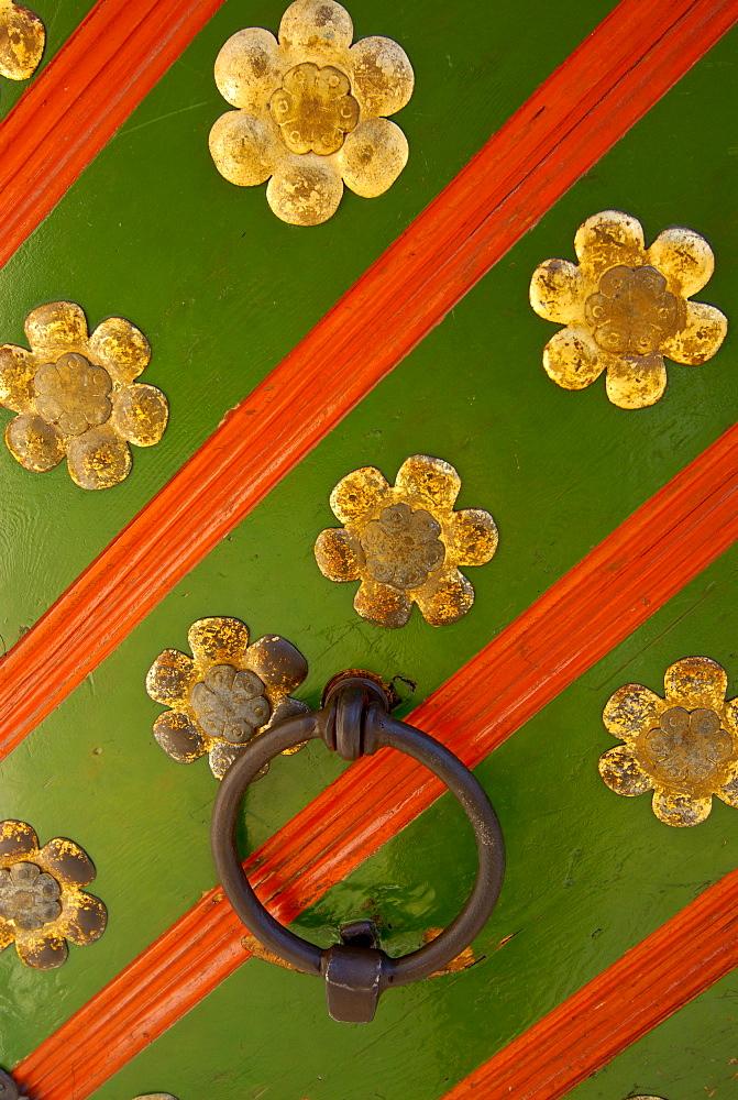 Door knocker, entrance of a guild house, Tallinn, Estonia, Northern Europe - 832-111136