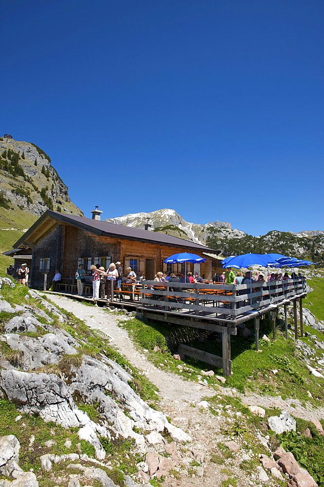 Alpine hut below Mt. Gschoellkopf in the Rofangebirge mountains near Achensee, Tyrol, Austria, Europe