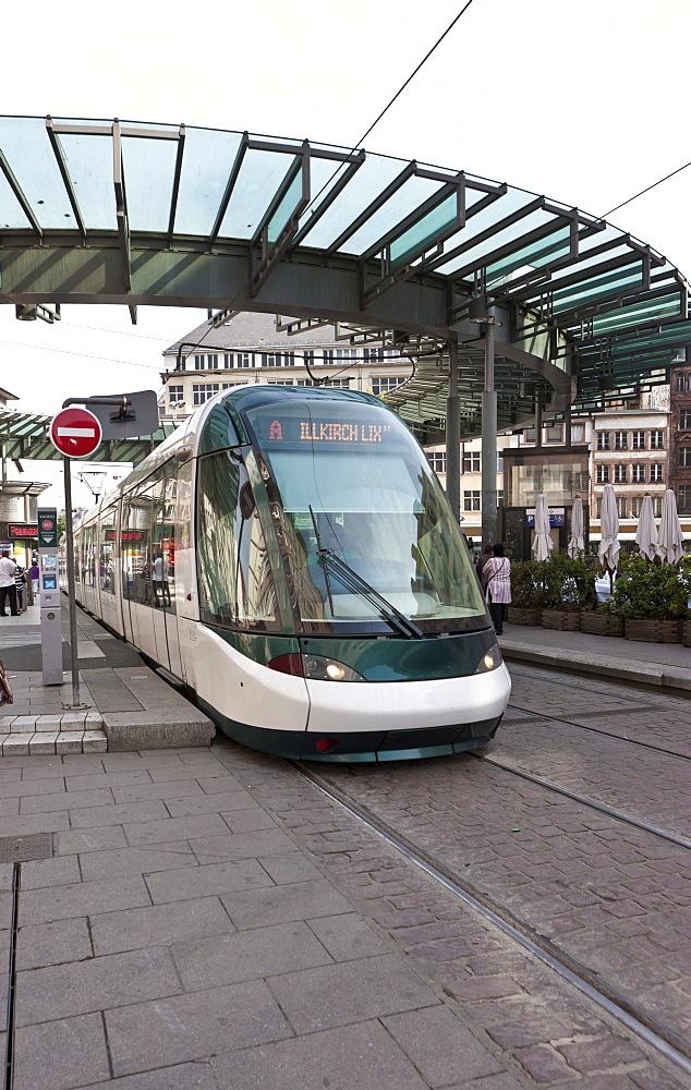 Modern tram, Strasbourg, Alsace, France, Europe