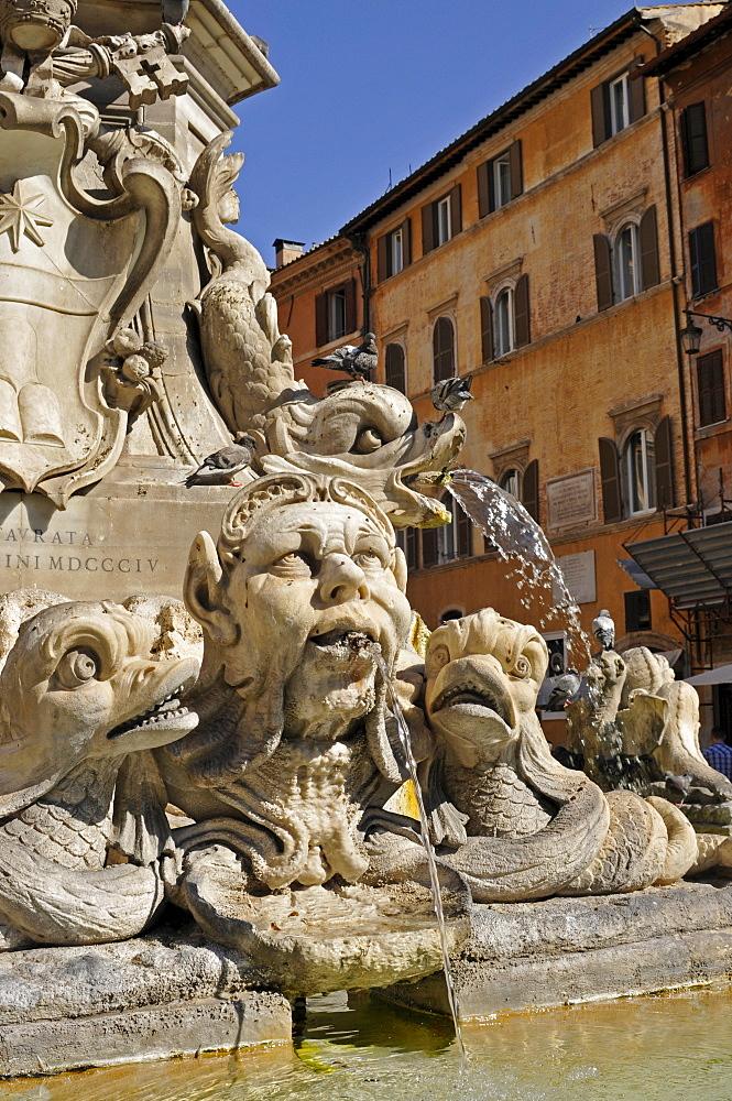 Fontana di Pantheon, fountain in Piazza della Rotonda, Rome, Lazio, Italy, Europe