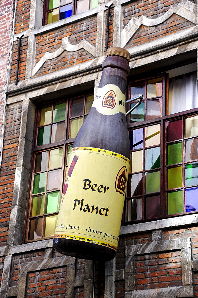 Beer Planet, a specialized beer store with a big bottle as a sign on the facade, city centre, Brussels, Belgium, Benelux, Europe