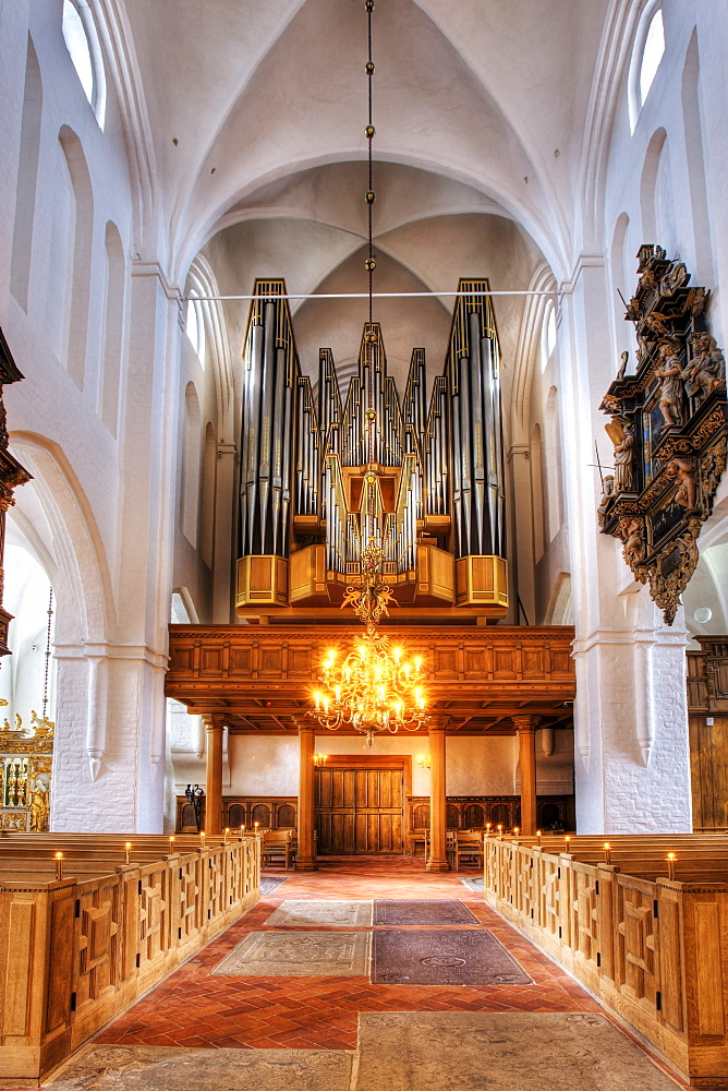 The organ in Sct. Olai Domkirke cathedral, Helsingor, Elsinore, Denmark, Europe