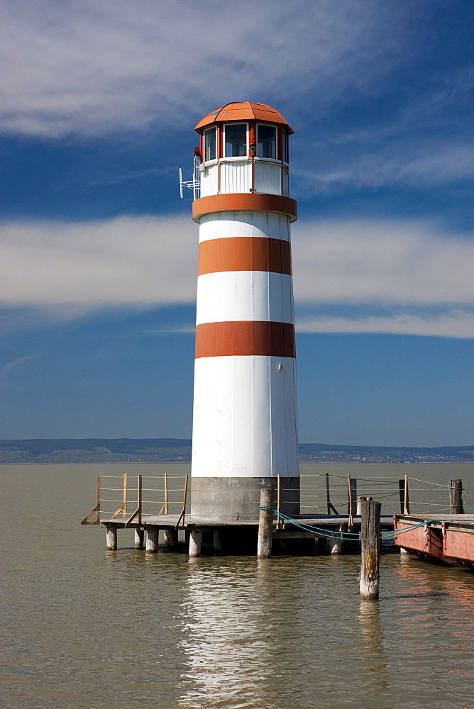 Lighthouse in Podersdorf am See, Patfalu, Lake Neusiedl, Lake Neusiedl National Park, Seewinkel, Burgenland, Austria, Europe