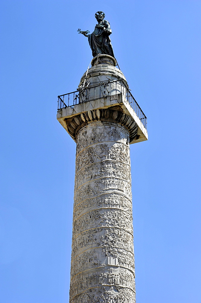 Trajan's Column with a bronze statue of St. Peter, Trajan's Forum, Via dei Fori Imperiali, Rome, Lazio, Italy, Europe
