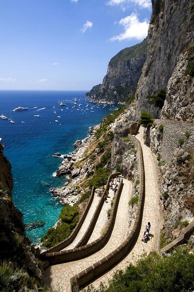 Via Krupp from the Giardini di Augusto or August gardens to Marina Piccola, built in 1902 by Friedrich Alfred Krupp, Capri, Italy, Europe