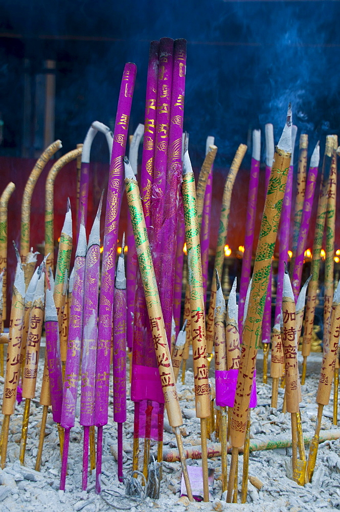 Incense in a monastery in Leshan, Sichuan, China, Asia
