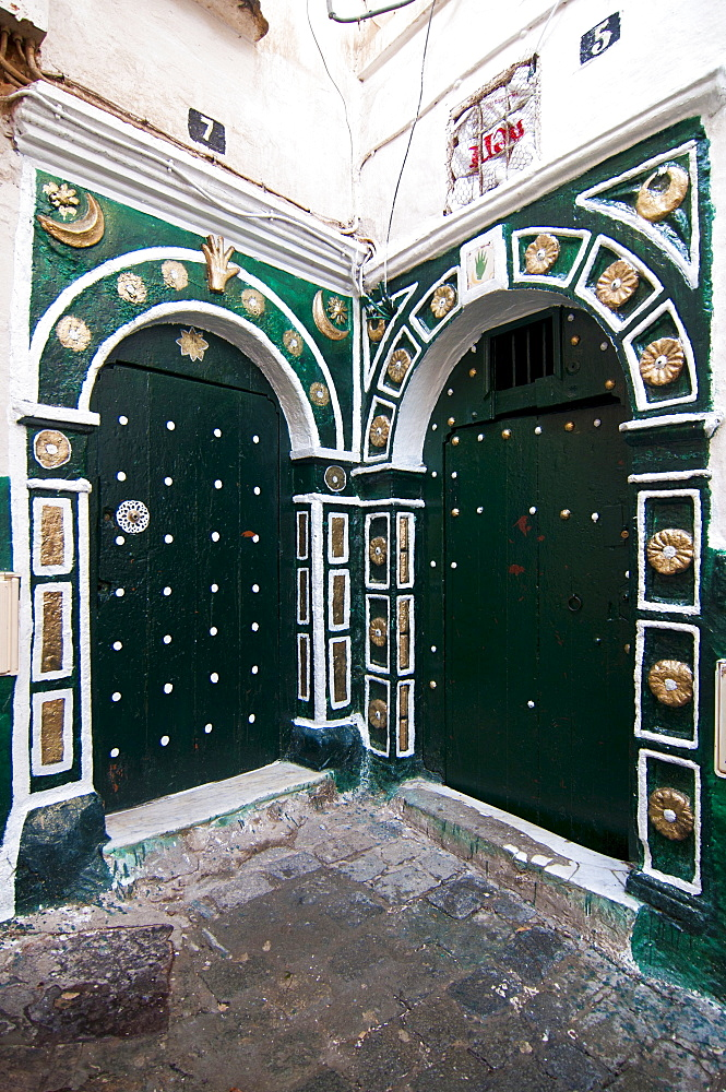 Ornate entrance door in the Kasbah, Unesco World Heritage site, historic district of Algiers, Algeria, Africa
