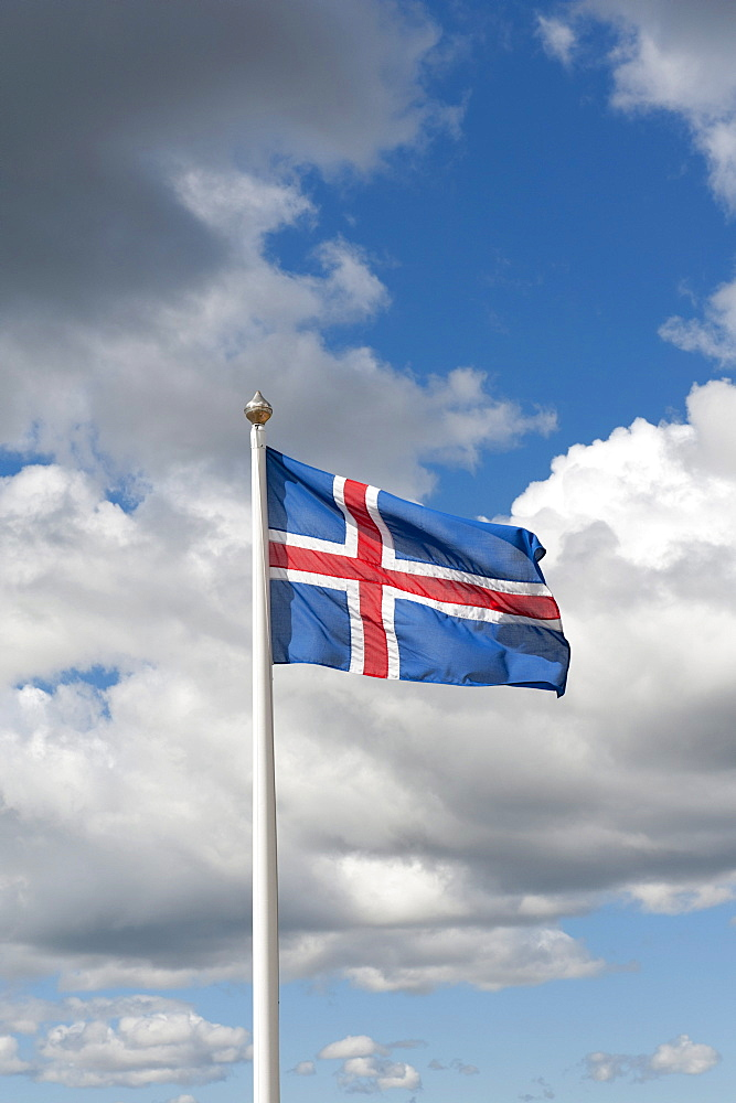Icelandic National Flag, fiingvellir, Thingvellir, Golden Circle, Iceland, Scandinavia, Northern Europe, Europe