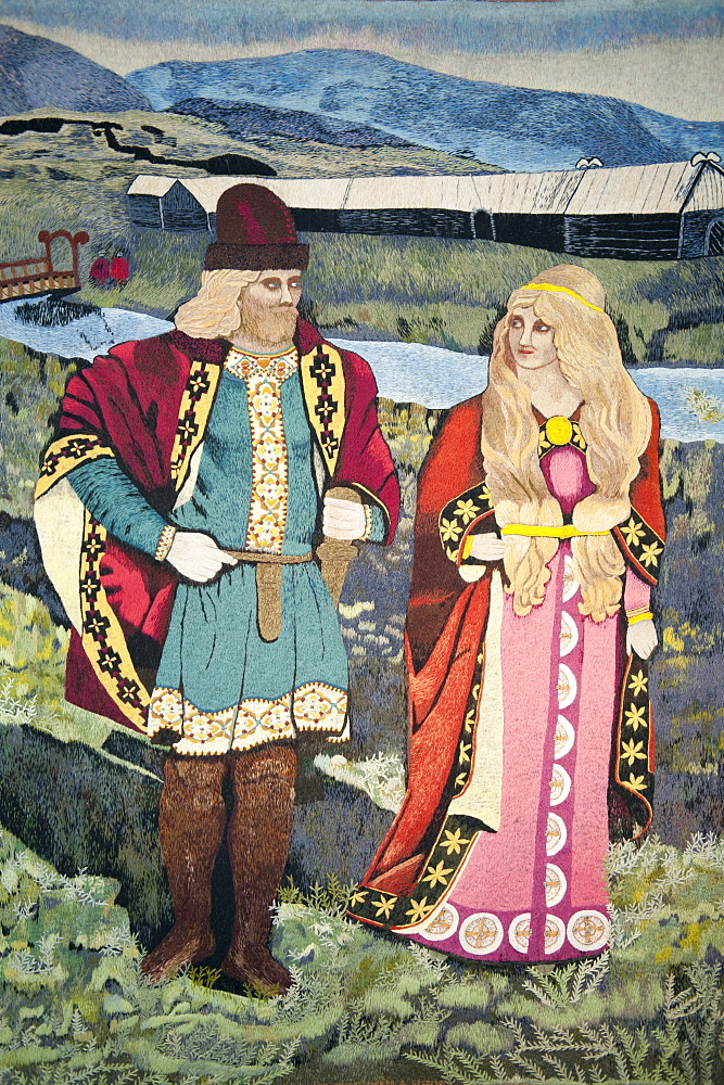 Icelandic couple from the old days of the sagas in typical dress, picture in a tapestry, Skogar open-air museum, Iceland, Scandinavia, Northern Europe, Europe