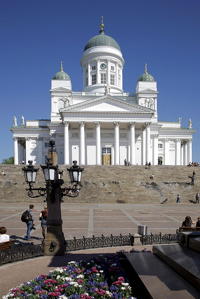 Cathedral, people on the Senate Square, Helsinki, Finland, Europe