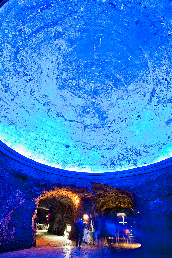 Dome of the underground Salt Cathedral of Zipaquira, Cundinamarca, Colombia, South America