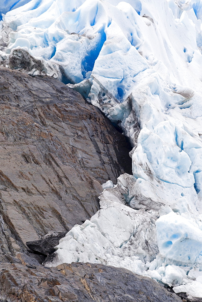 Detail view of Glaciar Grey, Grey Glacier, southern Patagonian ice field, Chile, Patagonia, South America