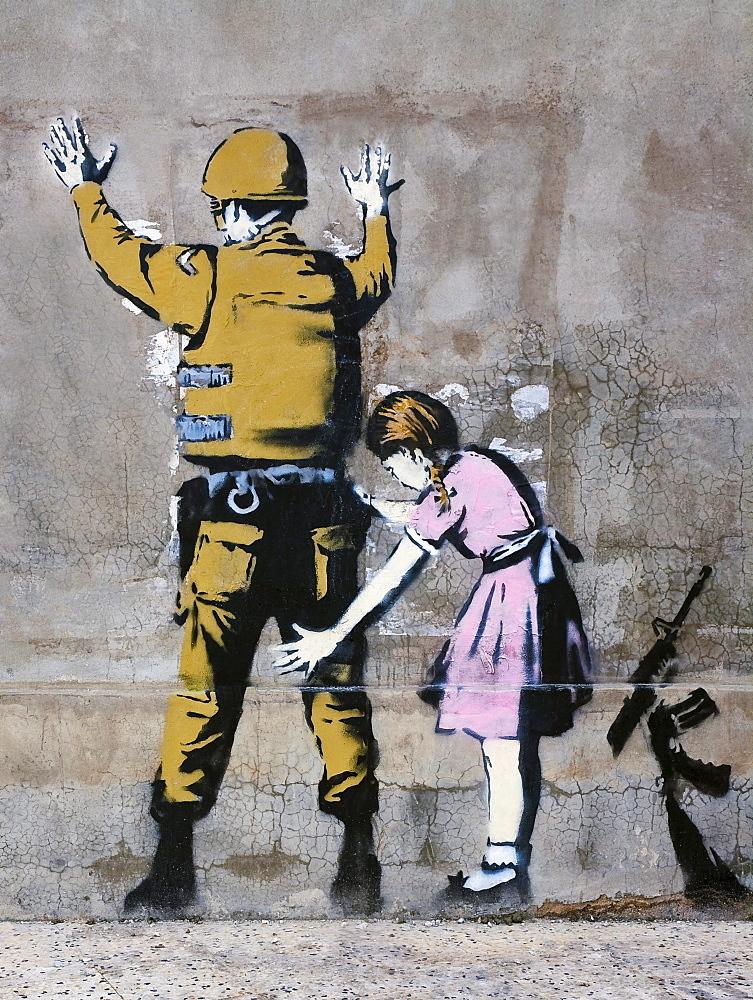 Banksy art, soldier and girl, Bethlehem, Palestine, Western Asia