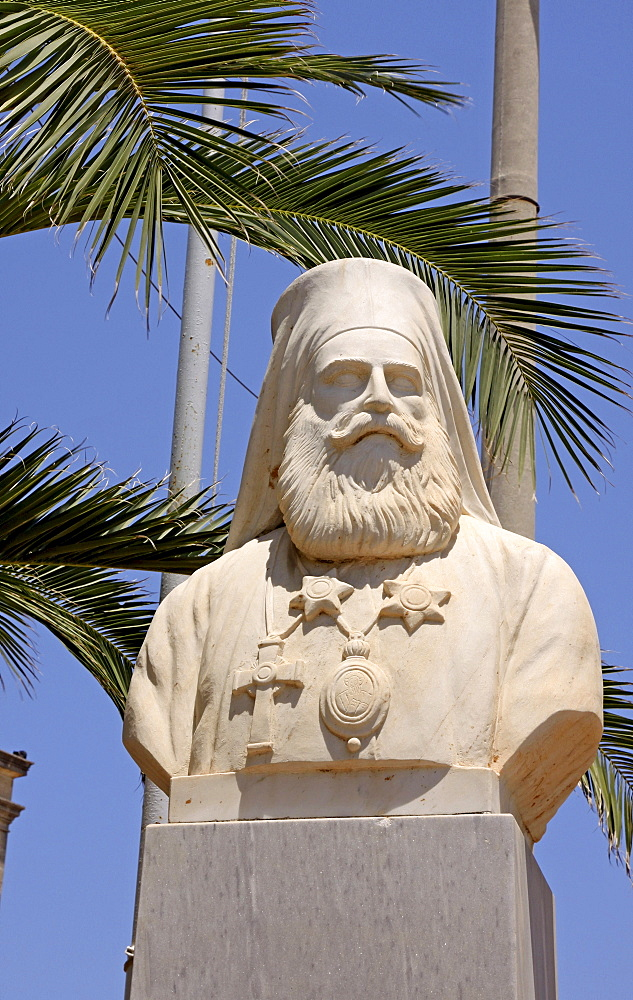 Bishop statue in front of the Agios Minas church, Heraklion or Iraklion, Crete, Greece, Europe