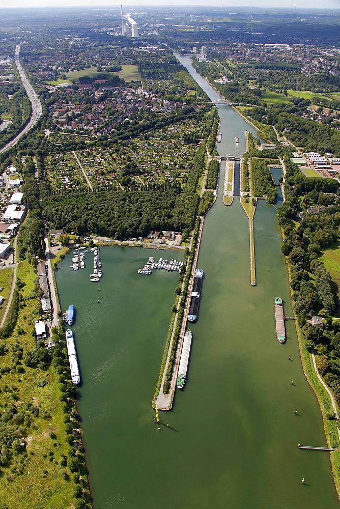 Aerial view, Emscherkunst.2010 art project, Bogomir Ecker, Buelent Kullukcu, artworks on the Emscher river, Herner Meer site, Herne, Ruhr area, North Rhine-Westphalia, Germany, Europe