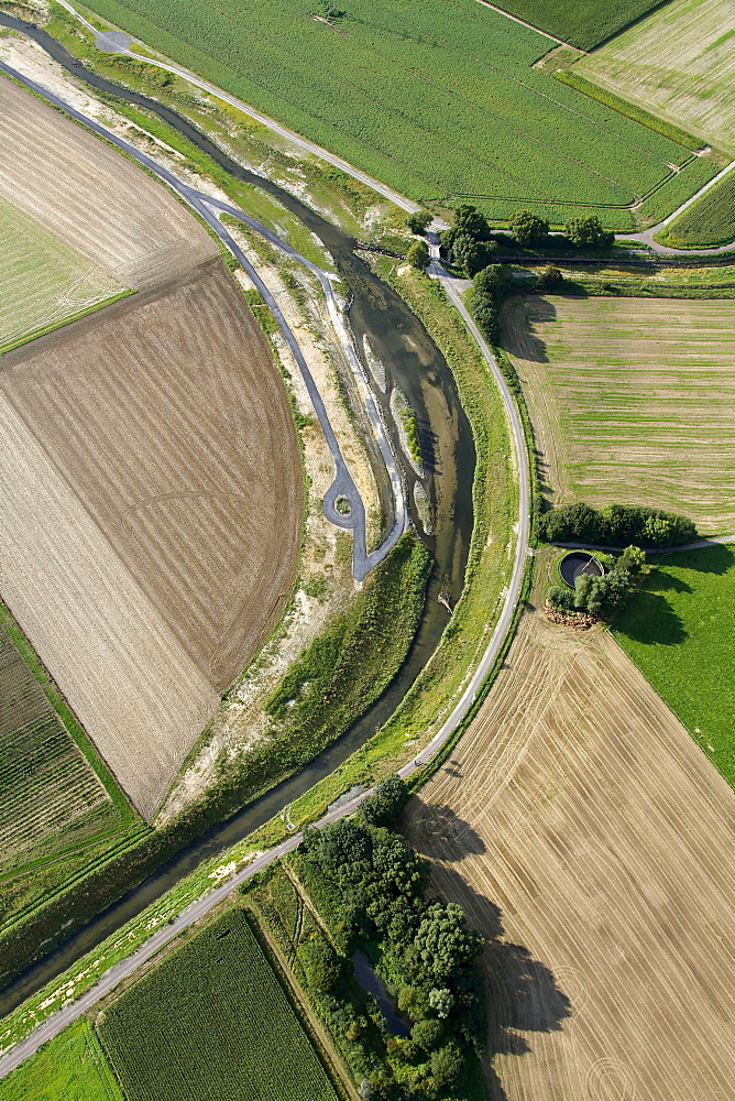 Aerial view, Seseke, tributary of the lip, SesekeKunst, landscape in the river, Thomas Stricker, river bed, artificial island, Luenen, Ruhrgebiet region, North Rhine-Westphalia, Germany, Europe