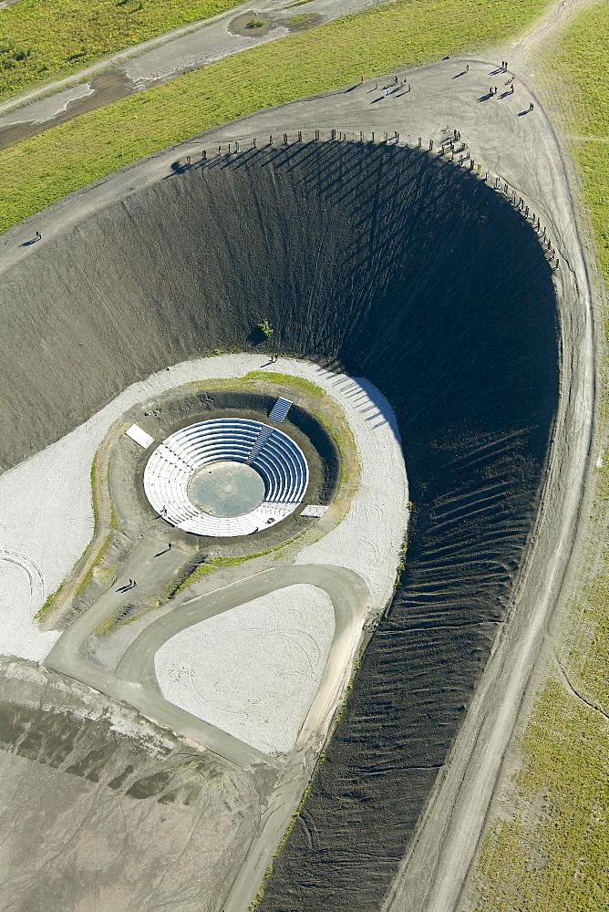 Aerial view, tailings dam, waste dump, landscape construction with an amphitheater, Halde Haniel at Bergwerk Prosper-Haniel colliery, shaft 1 2 Bottrop, Ruhr Area, North Rhine-Westphalia, Germany, Europe