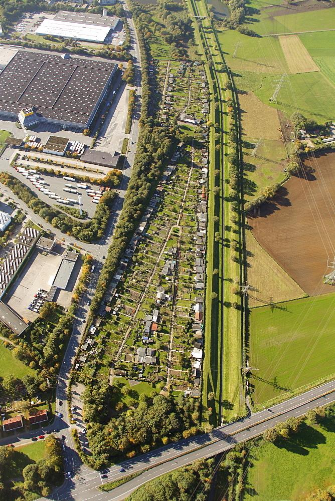 Aerial view, Ostermann, furniture discounter, Boy, Bottrop, Ruhrgebiet region, North Rhine-Westphalia, Germany, Europe