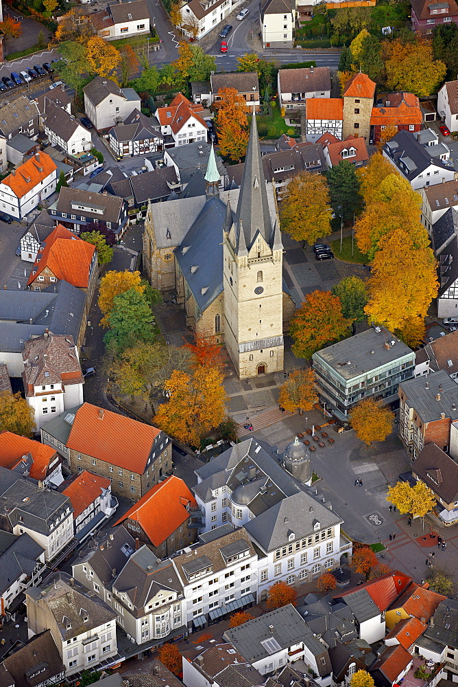Aerial view, city church of St. Vincent, Menden, Maerkischer Kreis county, North Rhine-Westphalia, Germany, Europe