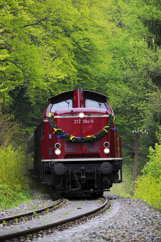 Diesel locomotive of the Swabian Forest Railway, Rudersberg, Baden-Wuerttemberg, Germany, Europe