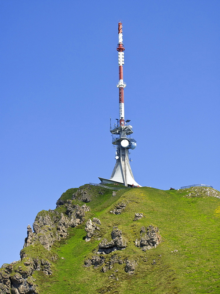Radio mast at the top of Mt. Kitzbueheler Horn, Kitzbuehel, Tyrol, Austria, Europe
