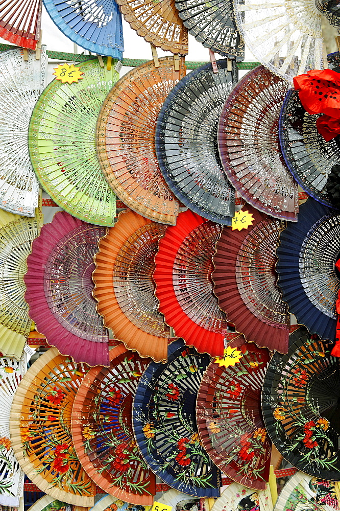 Colourful fans, Rastro market, Madrid, Spain, Europe