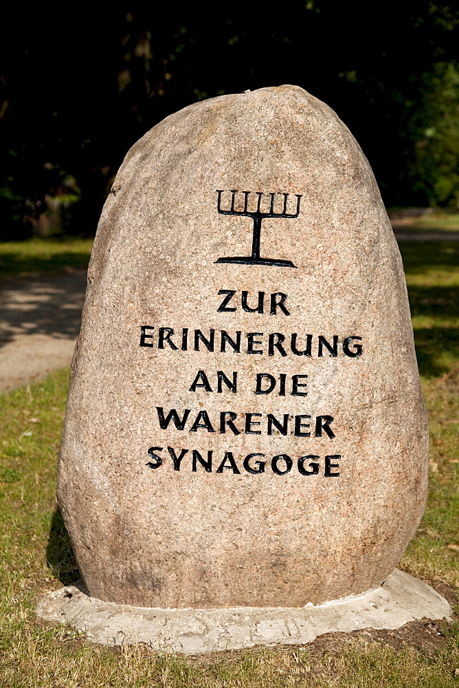 Memorial stone commemorating the synagogue of Waren, climatic health-resort of Waren on Lake Mueritz, Mecklenburg Lake District, Mecklenburg-Western Pomerania, Germany, Europe