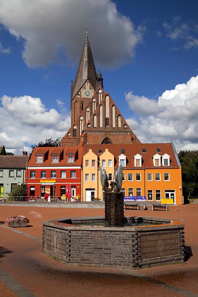 Market place with St. Marien brick church, Barth, Mecklenburg-Western Pomerania, Germany, Europe