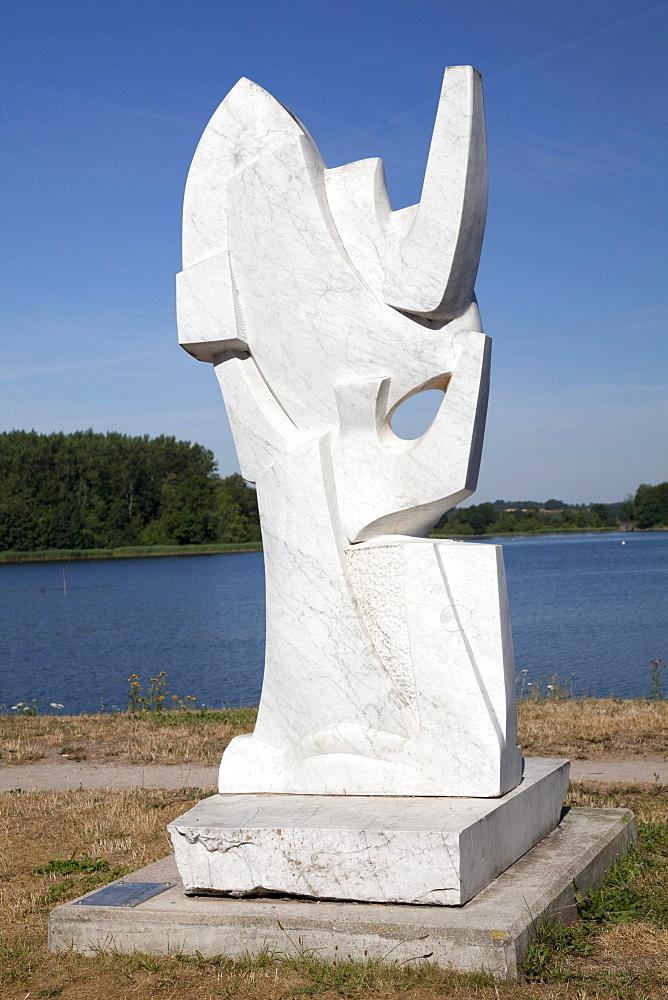Sails and Gulls, sculpture by Pierre Schumann, port of Neustadt, Luebeck Bay, Baltic Sea coast, Schleswig-Holstein, Germany, Europe