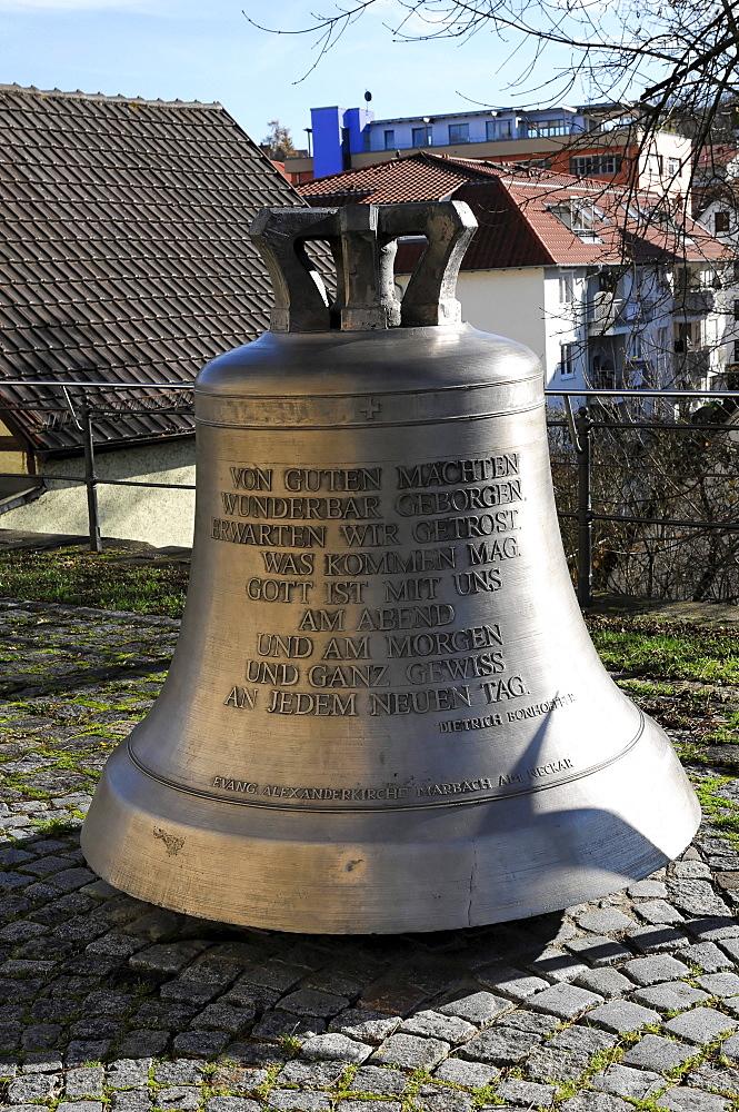 Prayer bell at the Alexanderkirche church with an inscription by Dietrich Bonhoeffer, Marbach am Neckar, Baden-Wuerttemberg, Germany, Europe