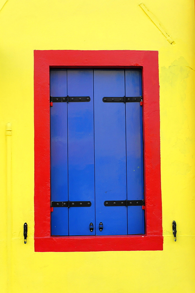 Window on the facade of a house, Burano Island, Venice, Veneto, Italy, Europe