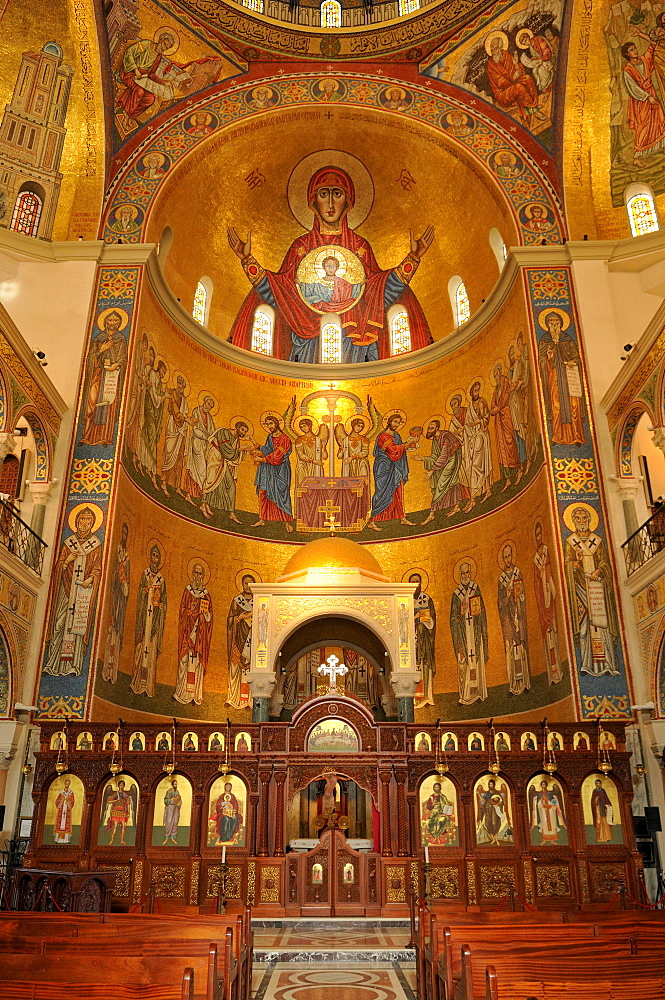 Interior of the Maronite St. George Cathedral, Harissa, Lebanon, Middle East, West Asia
