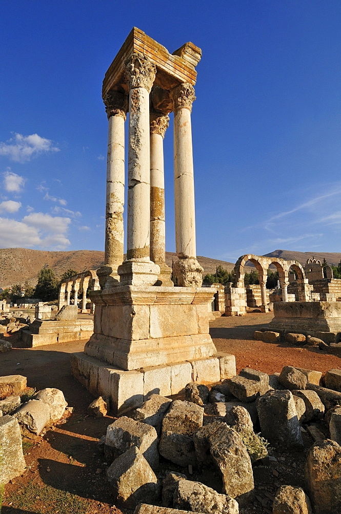 Ancient Umayyad ruins, Tetrapylon, at the archeological site of Anjar, Aanjar, Unesco World Heritage Site, Bekaa Valley, Lebanon, Middle East, West Asia