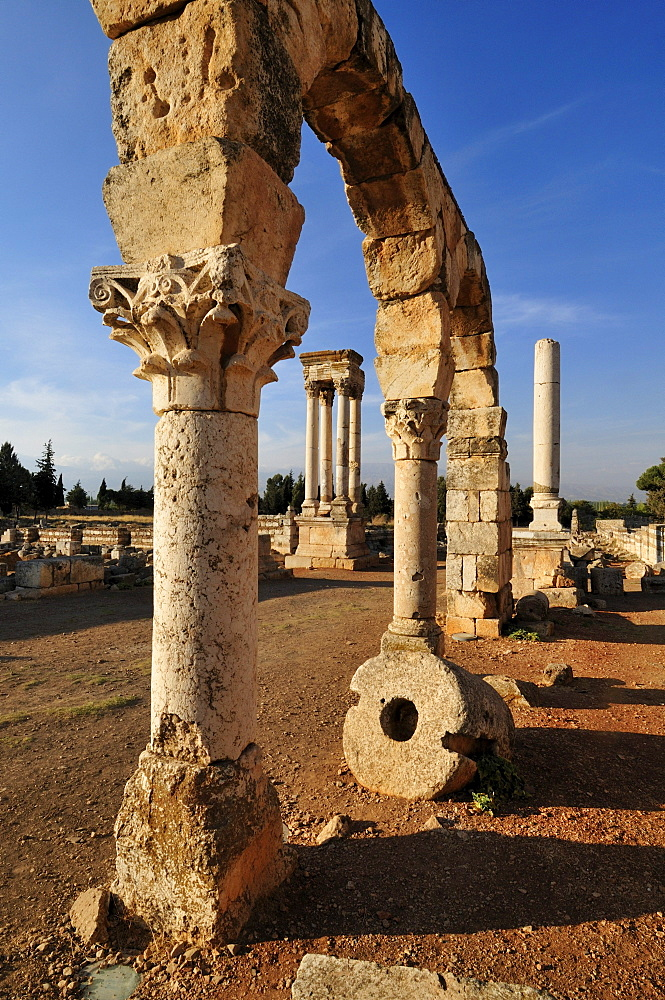 Antique Umayyad ruins at the archeological site of Anjar, Aanjar, Unesco World Heritage Site, Bekaa Valley, Lebanon, Middle East, West Asia