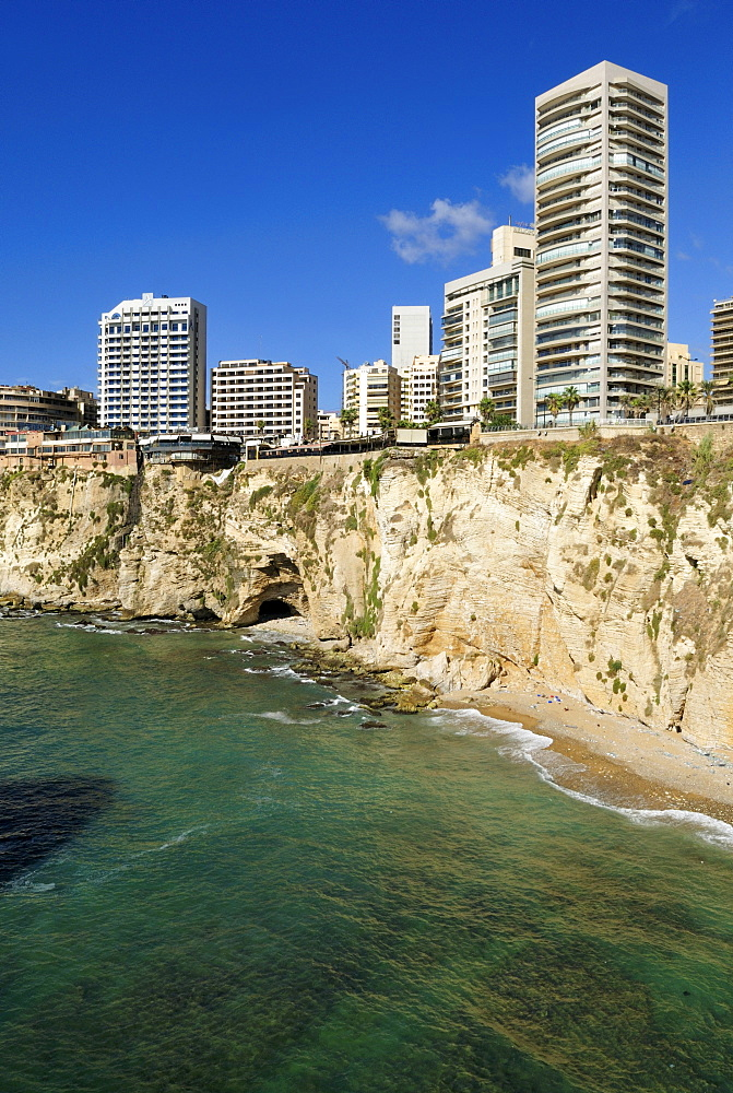 Multistorey apartment buildings near Rawsheh or Pigeon Rocks, Beirut, Beyrouth, Lebanon, Middle East, West Asia